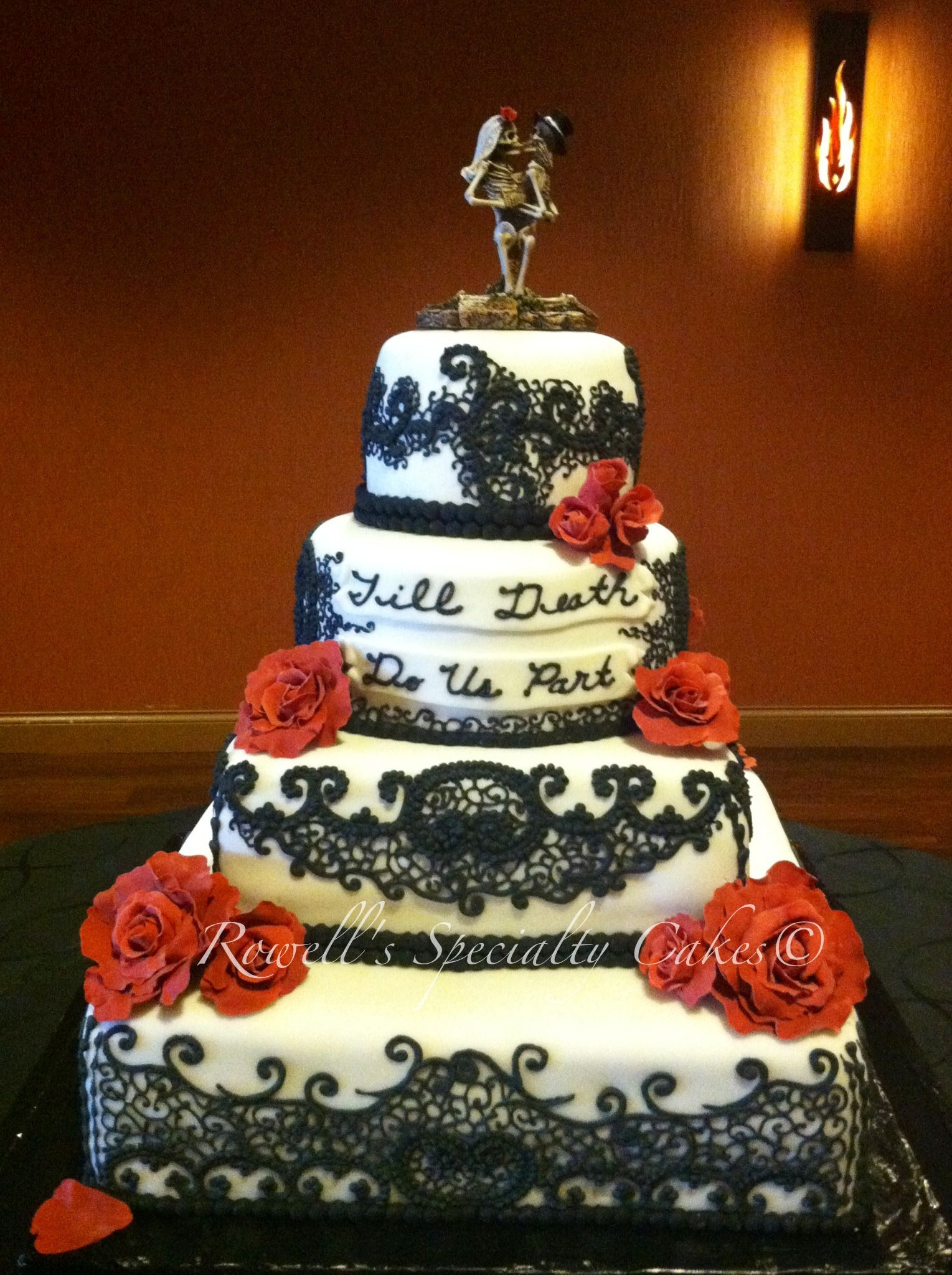 Rowell S Specialty Cakes Till Do Us Part Wedding Cake White And Black Edilble Lace Red