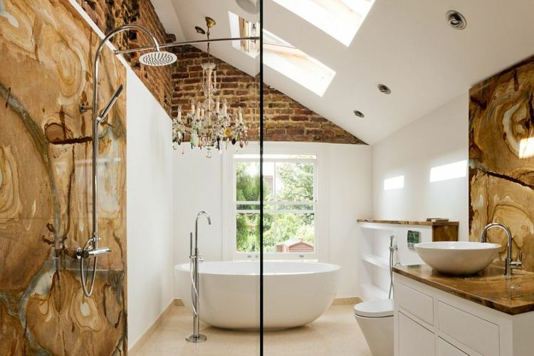 Wandgestaltung im Bad \u2013 25 Ideen mit Backstein badezimmer - wandgestaltung im badezimmer