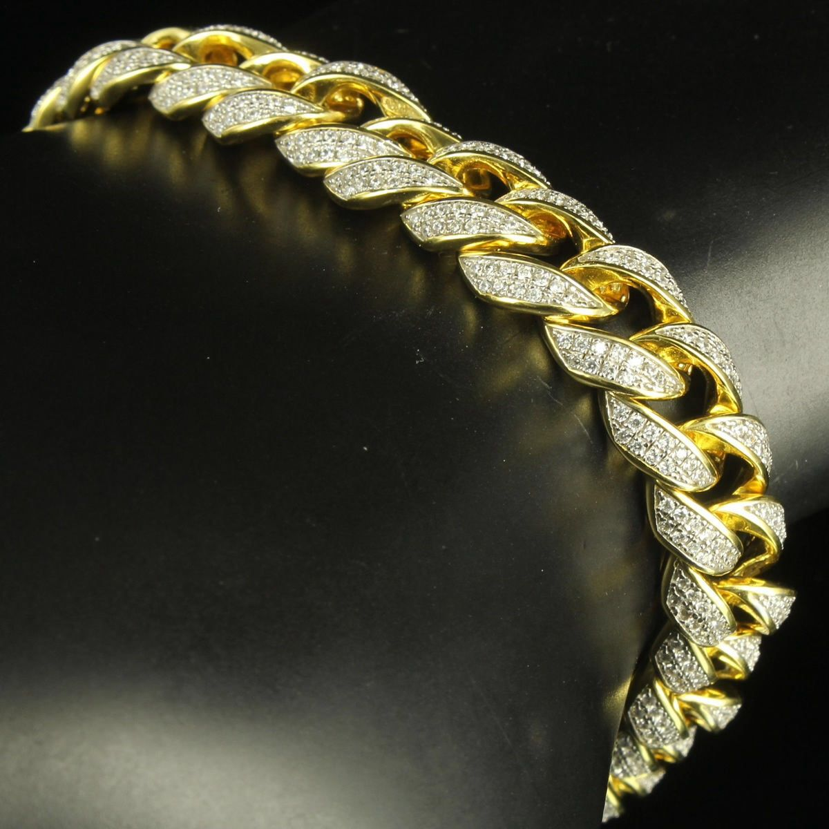 Golden Solid Silver 2 Tone Men Icy Miami Cuban Link Bracelet ...