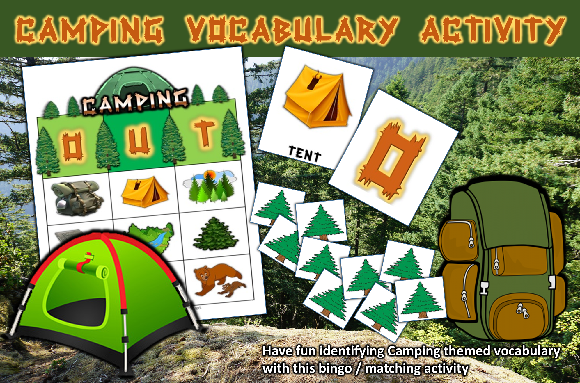 Camping Themed Bingo Matching Activities