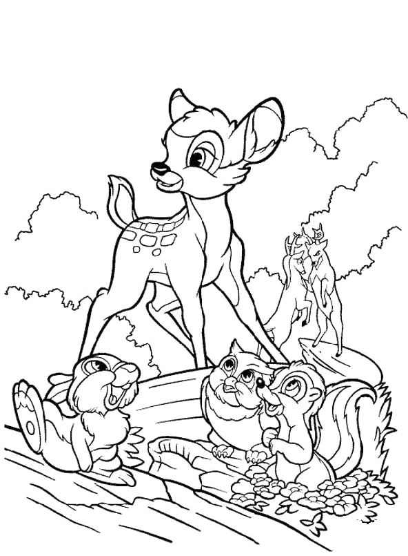 walt disney cars coloring pages | Bambi And His Friends Coloring Pages - Bambi car coloring ...