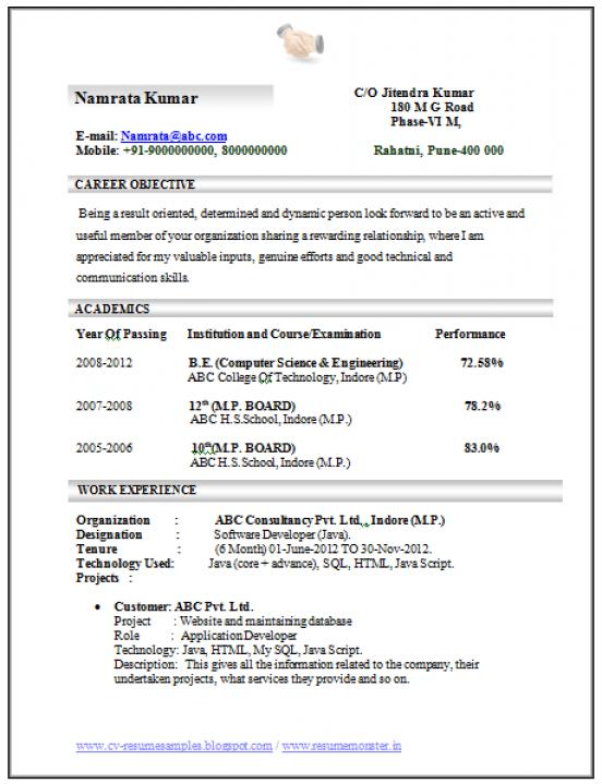 Professional Curriculum Vitae Resume Template For All Job Seekers Sample Template Engineering Resume Resume Format For Freshers Engineering Resume Templates