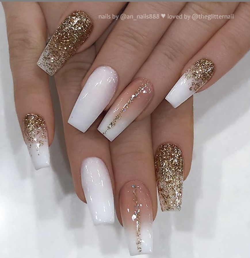 50 Pretty French Pink Ombre And Glitter On Long Acrylic Coffin Nails Design For Spring Summer Gold Glitter Nails Gold Acrylic Nails Gold Nails