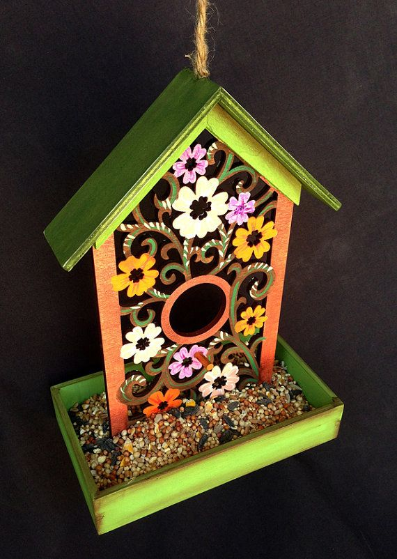 FLORAL FANTASY FEEDER A Hand Painted Bird Feeder By KrugsStudio, $19.99  Christmas Is Coming! What A Wonderful Gift For Your Bird Loving Friends!