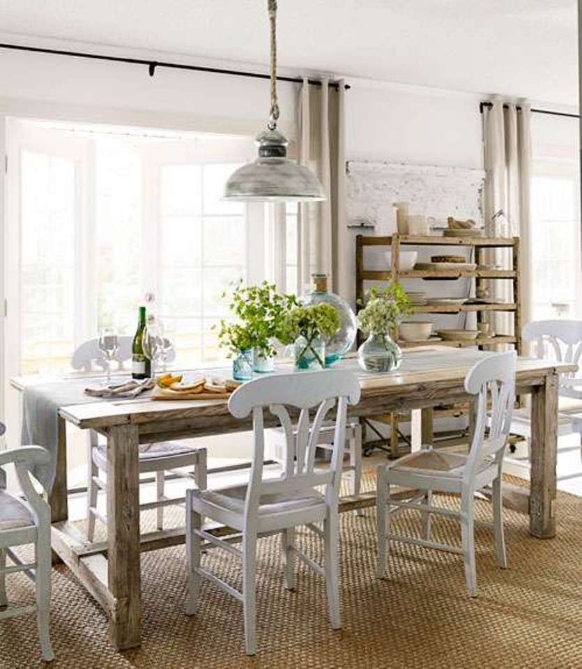Dining Room , Lovely Farmhouse Style Dining Room : Farmhouse Style Dining  Room With Wooden Table And White Chairs And Pendant Lighting And Wicker  Area Rug
