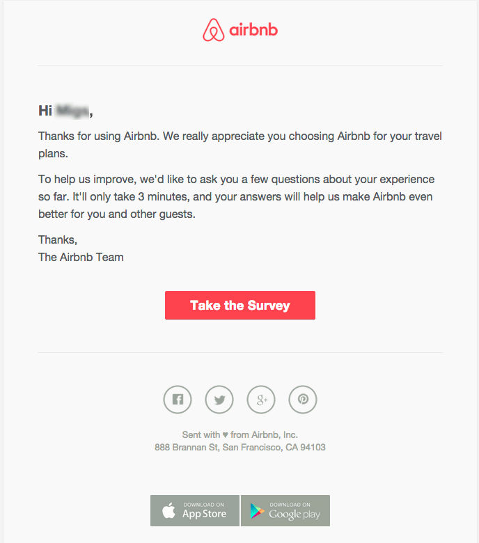 16 Excellent Customer Satisfaction Survey Examples Airbnb Email