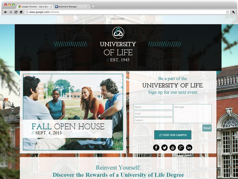 University landing page a one pager template for an academic website pronofoot35fo Images