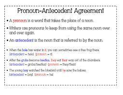 Pronoun Antecedent Agreement Teaching Noun And Pronouns Repeating V Paraphrase Physiology Memory