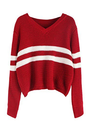 1c25d0042580b Floerns Women s Long Sleeve Striped V Neck Crop Tops Swea... https