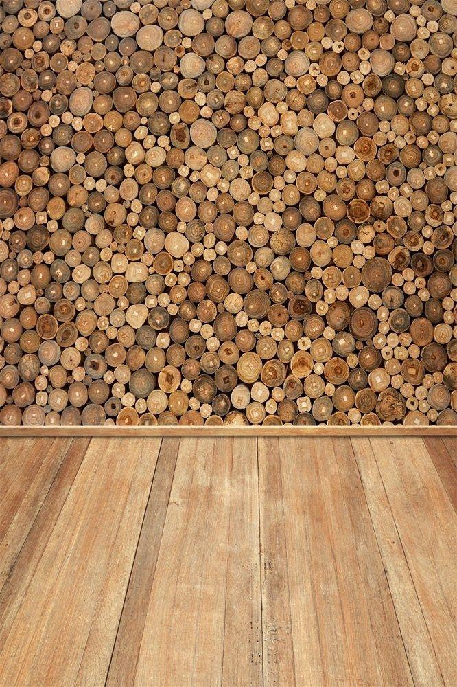 Photo of 5x7ft Chopped Wood Stack Backdrop Log Wood Hardwood Floor Photo Shoot