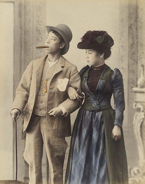 洋服を着てる日本人 明治時代   Japanese couple, Japan photo, Japan