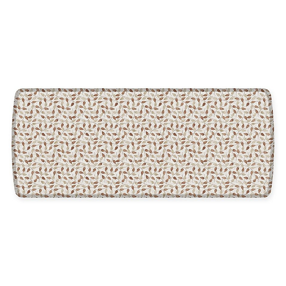 Gelpro Elite Decorator New Leaves 30 X 72 Kitchen Mat In Oatmeal