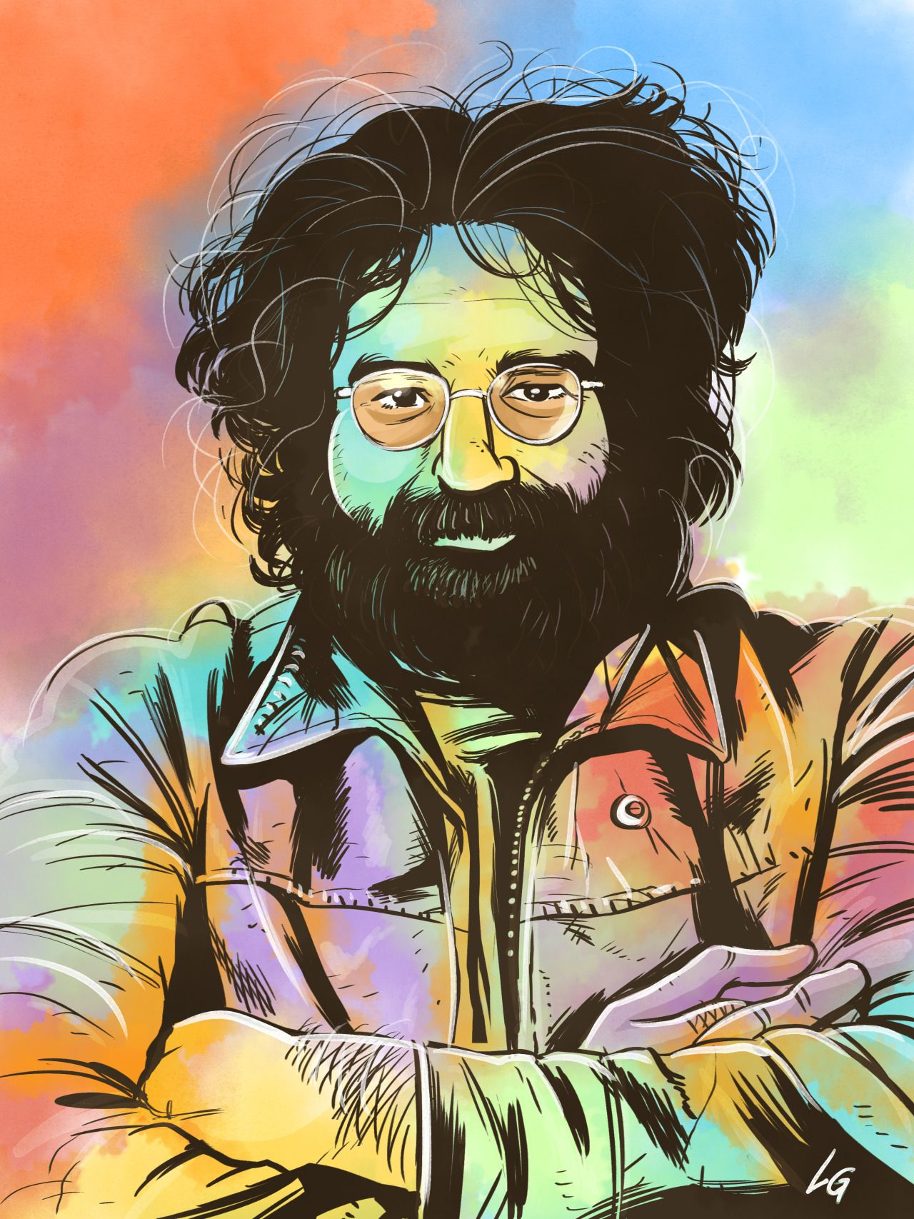 Jerry Garcia, digital watercolor Cartoon illustration
