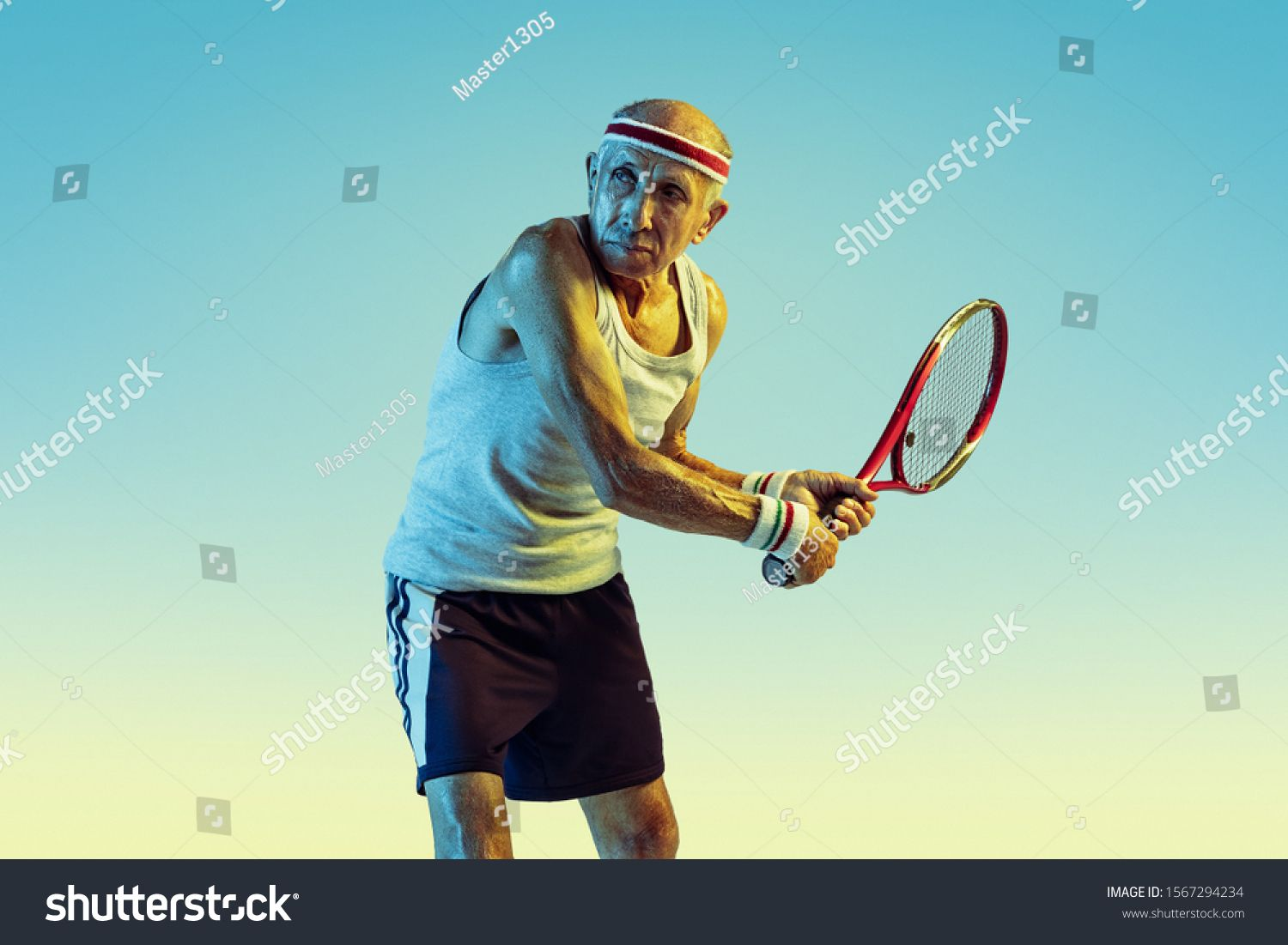 Senior Man Wearing Sportwear Playing Tennis On Gradient Background Neon Light Caucasian Male Model In Great Shape Stays Active Spor Photo Editing Tennis Man