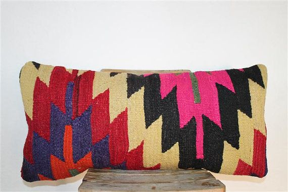 Kilim Pillow Anatolian Wool Pillows Throw pillow by SeCLara