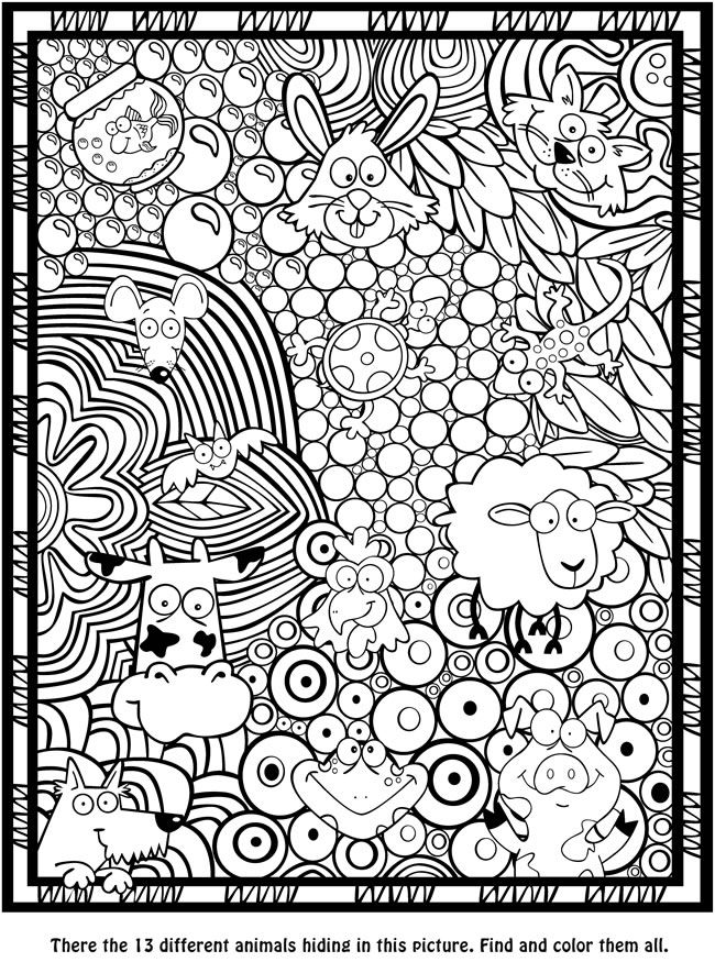 Seek, Sketch and Color -- Animals Dover Publications | Coloring ...