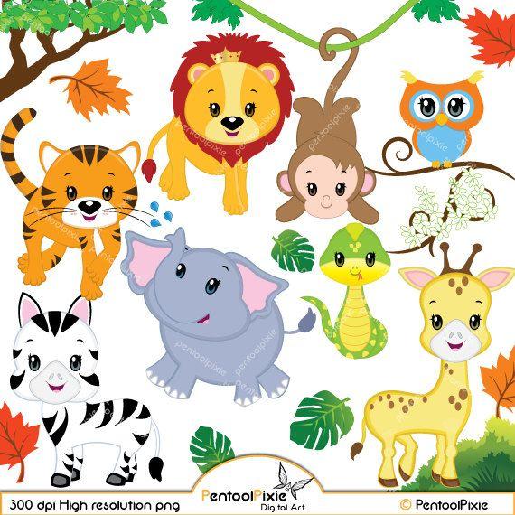 Jungle Animal Clipart Baby Animals Safari Clipart Etsy Animal Clipart Safari Baby Animals Baby Clip Art