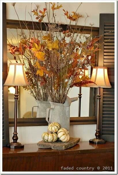 Fall sideboard for decorating inspiration | Fall mantel ...