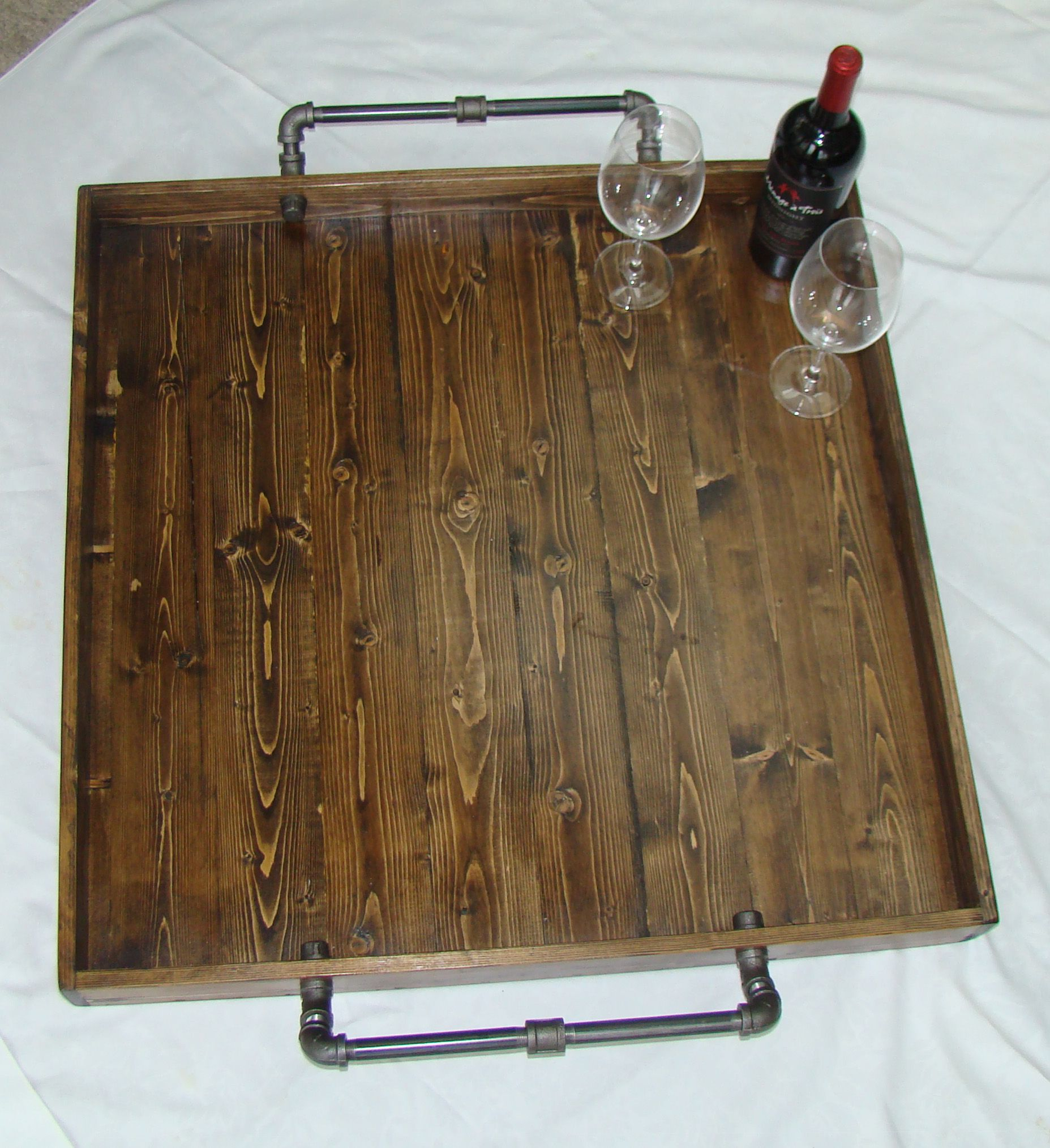 reclaimed wood tray rustic ottoman