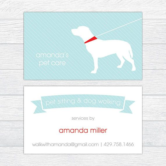 Dog Trainer Business Cards Dog Walker Calling Card Personalized