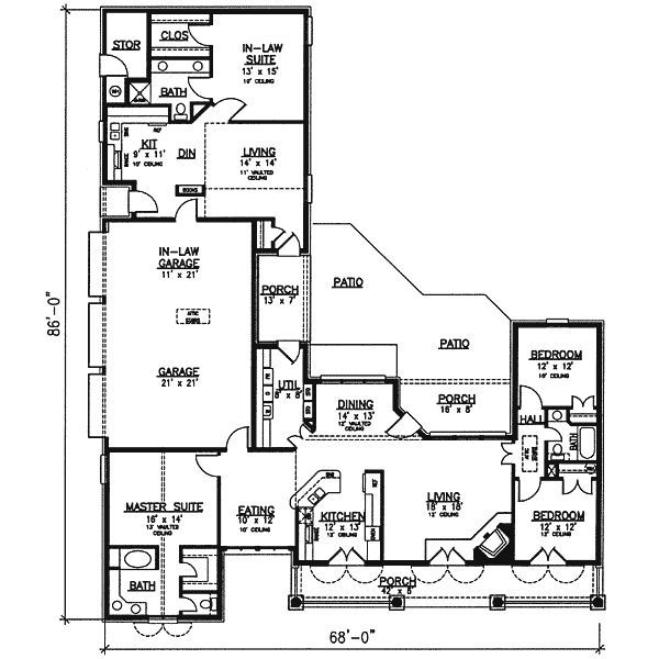 Southern Style House Plan 4 Beds 3 Baths 2400 Sq Ft Plan 320