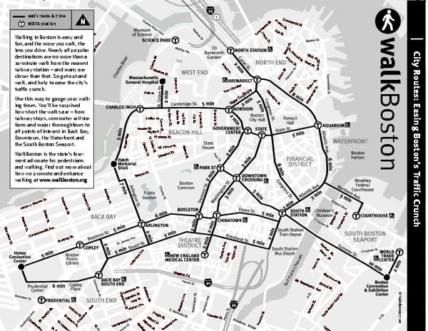 Tourist Map Of Boston Massachusetts Showing Walking Routes And: Boston Tourist Map Printable At Slyspyder.com