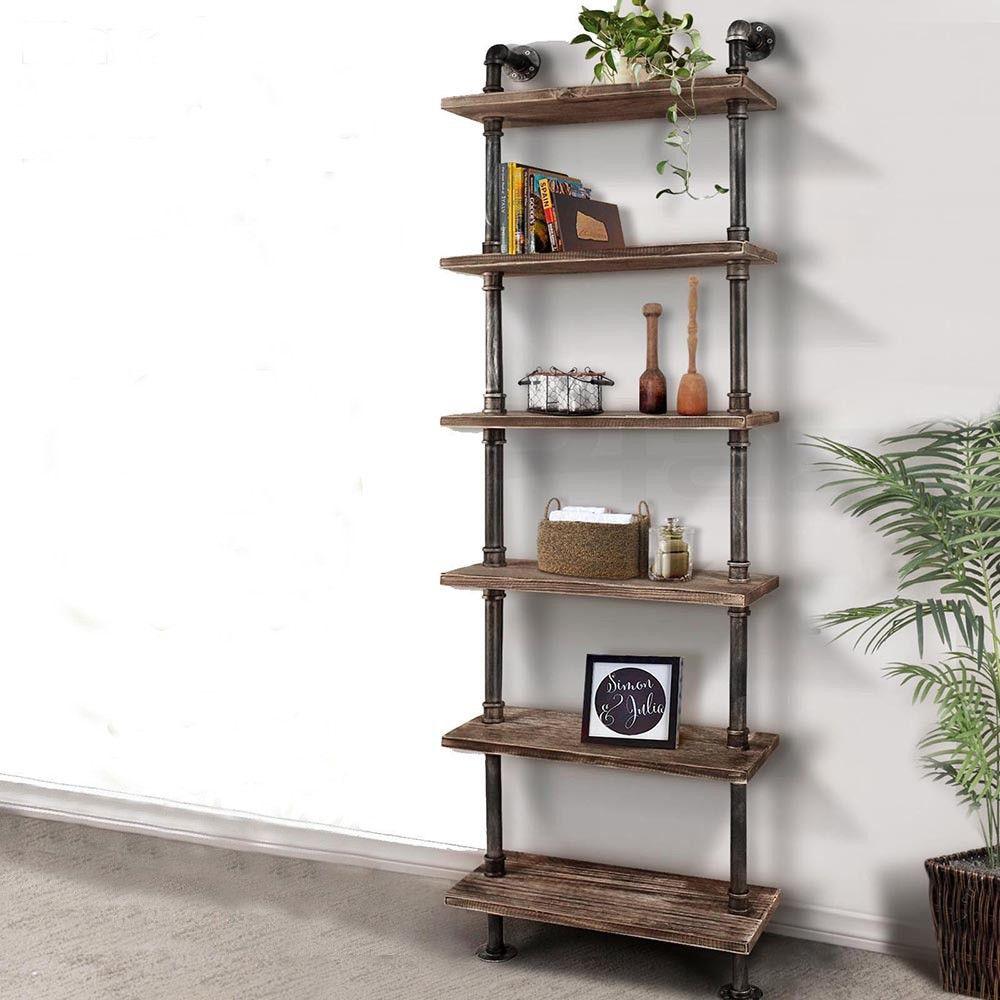 steampunk industrial ladder book shelf water pipe urban style wall