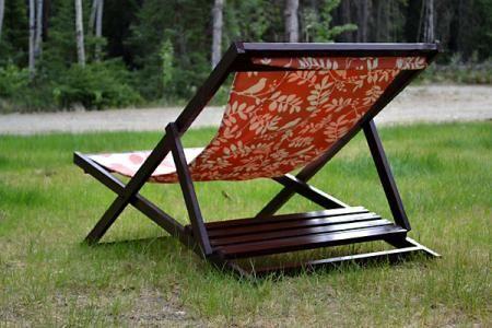 Wood Folding Sling Chair, Deck Chair or Beach Chair