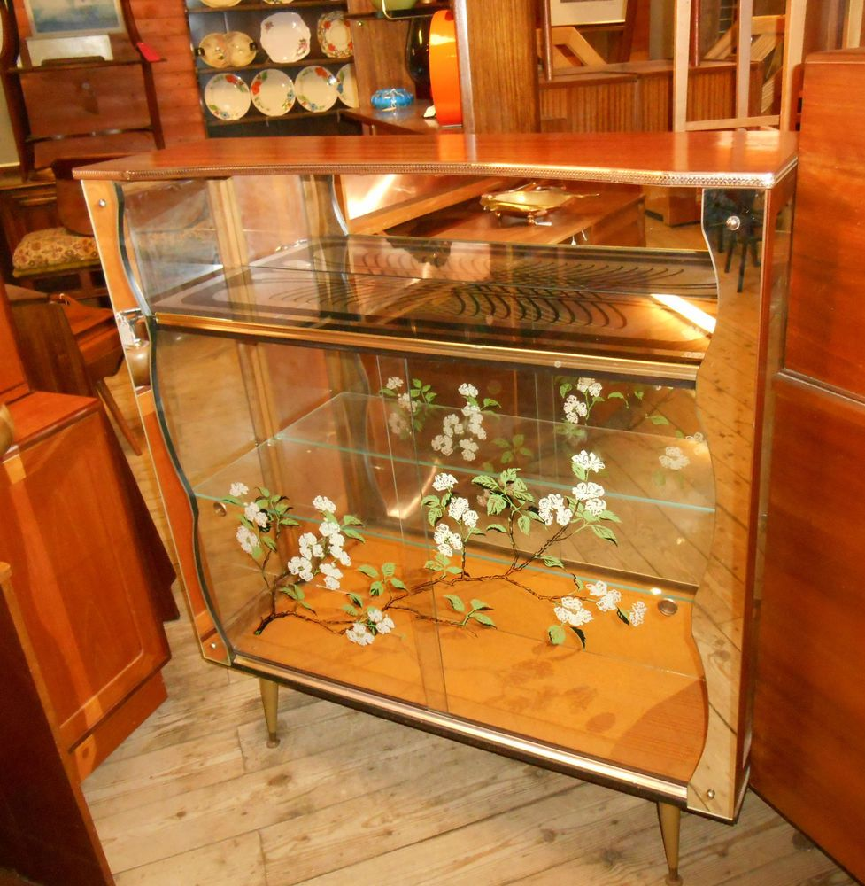 Retro Display Cocktail Cabinet 1960s decorated glass mirrored teak ...