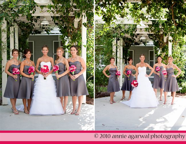 Pink and gray wedding show you that darker grey looks really gray bridesmaid dresses with pink flowers or green yellow or bnlue mightylinksfo