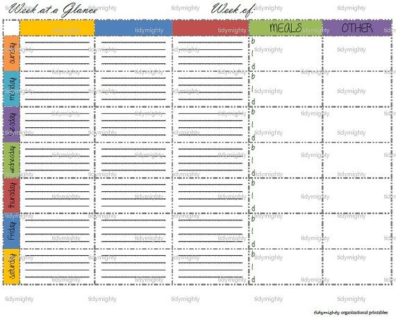 week at a glance with meal planner organizer by tidymighty