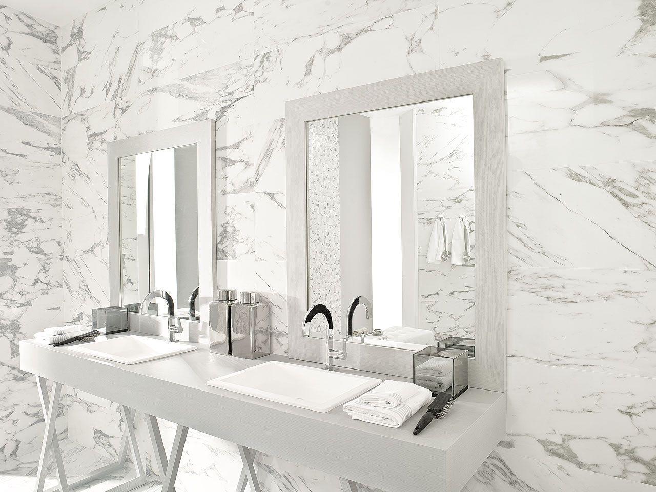 Bathroom Ceramic Wall Tile Marble Look CALACATA SILVER Part 88