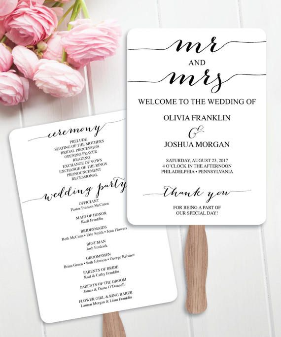 Wedding Fan Programs Program Editable
