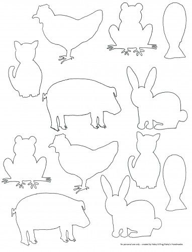 Free printable farm animal silhouette templates. Fun for