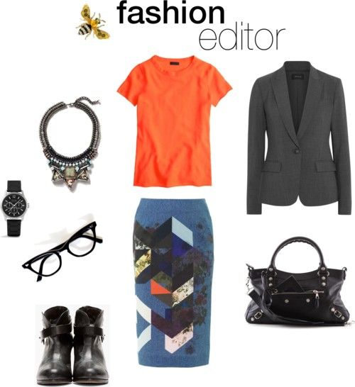 Spring & summer outfit idea for women over 40. Over 40 fashion. Inspiration for stylish women over 40. Featuring orange, blue and grey.