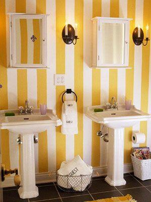 Bathroom Jpg Image Yellow Bathrooms Striped Wallpaper Bathroom Bathroom Colors
