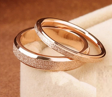 Frosted 18k Rose Gold Ring Thick Engagement Rings Couple Engagement Ring White Gold Couple Wedding Rings