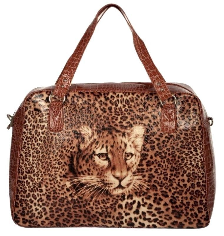 Leopard~Leatherette~HandBag~Travel & Shopping Bag~Carry On~Tote~Rockabilly~Punk #Unbranded