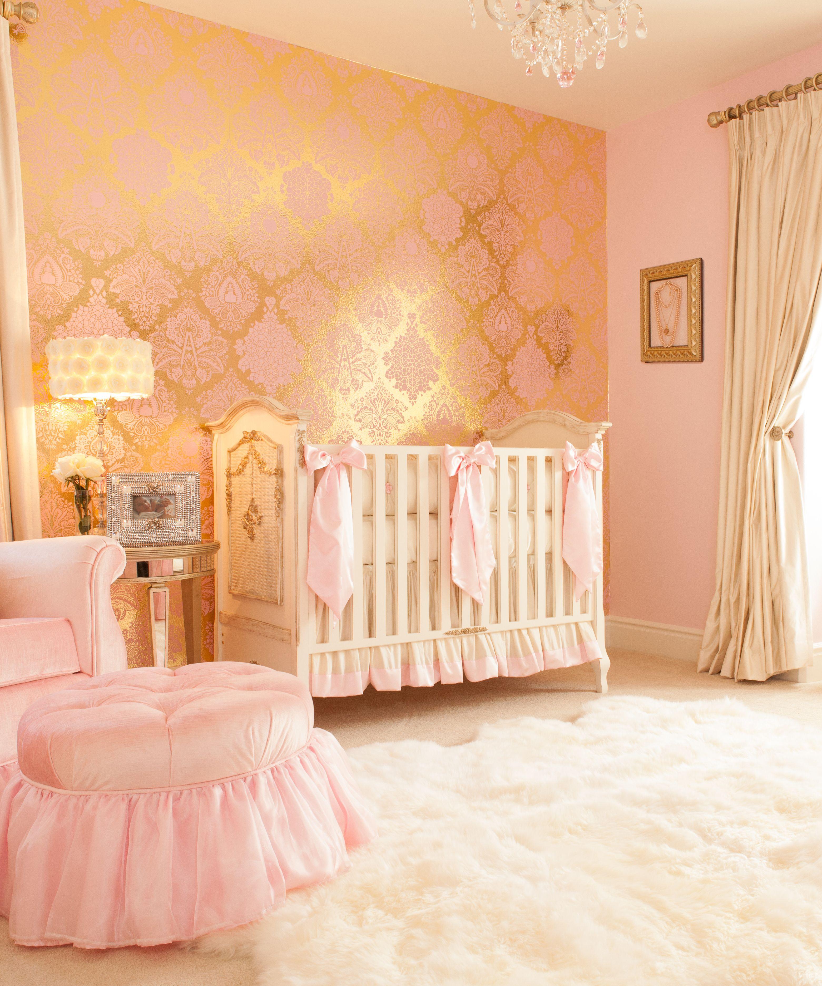 Angel Themed Design For A Baby Girl S Nursery: Fruits Of Design Damask Wallpaper