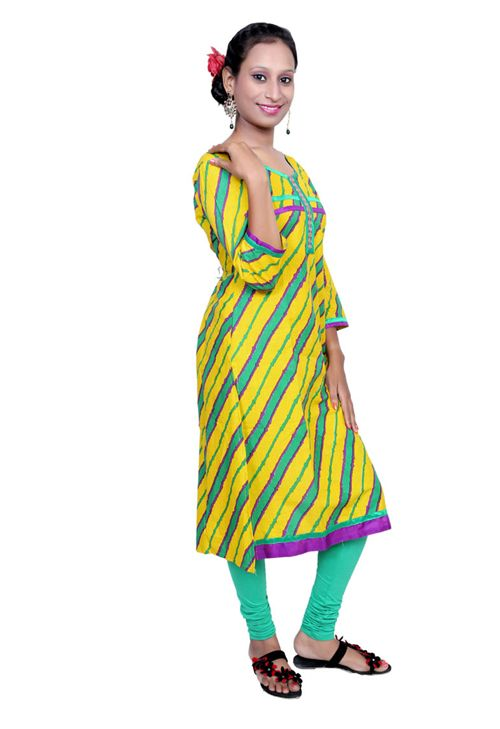 Buy Port Women Cotton Long Kurti - KURTI-3ASS-2 (Yellow) with cheapest price at Grabmore.in - Online Shopping of Clothing & Accessories in India.