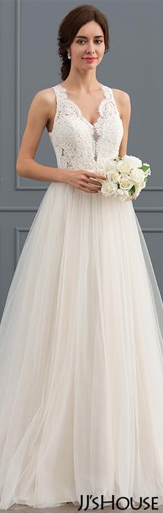 Princess V Neck Sweep Train Tulle Lace Wedding Dress Jjshouse