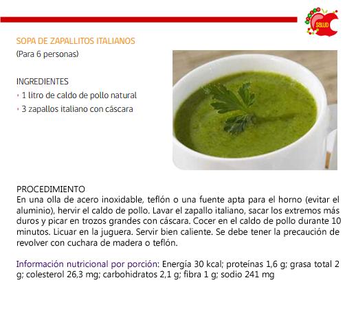 Cenas sin calorías - 4 ideas de sopas ligeras - Sopa de calabacita