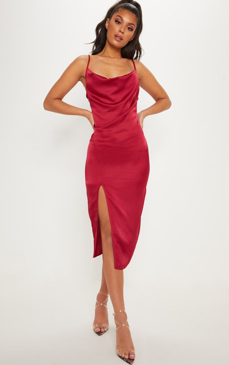 edb57f5bae5f Burgundy Strappy Satin Cowl Midi Dress in 2019 | STYLE | Satin midi ...