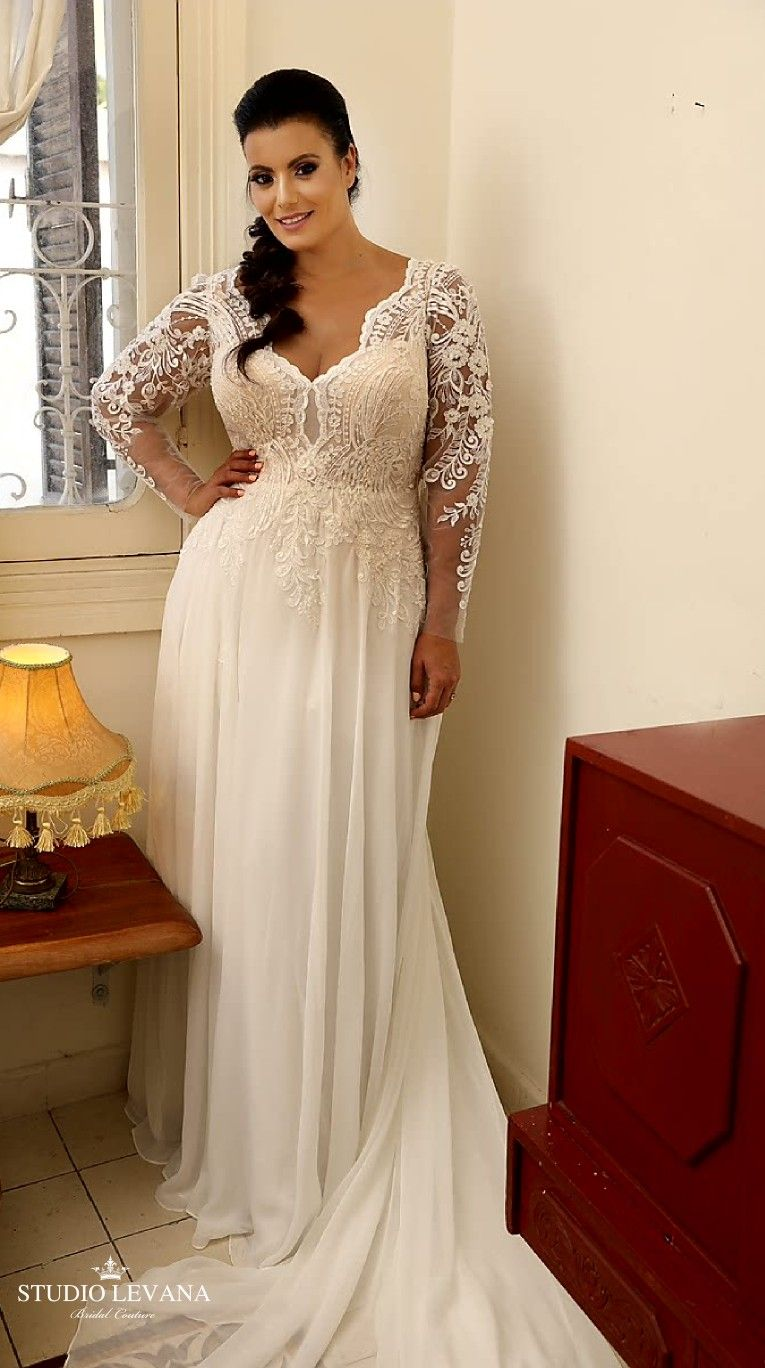 Plus Size Wedding Gown With Long Lace Sleeves And Chiffon Skirt Chloe Studio Levana Plus Wedding Dresses Plus Size Wedding Gowns Wedding Dresses Lace [ 1368 x 765 Pixel ]