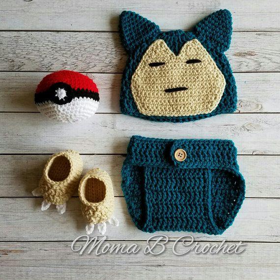 Crochet Snorlax Baby Set, Snorlax Hat, Snorlax Baby Set, Pokemon Baby Set, Snorlax Costume, Snorlax Pokemon, Baby Pokemon, Pokemon Costume #babysets