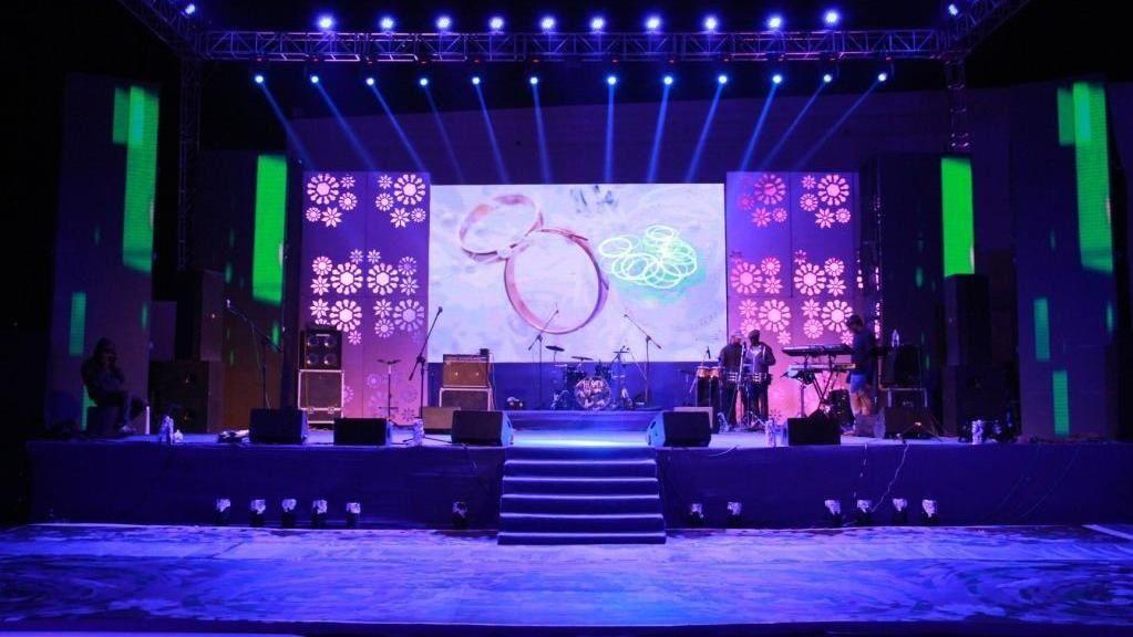 Stage Setup With Led Wall Sangeet Decor Pinterest
