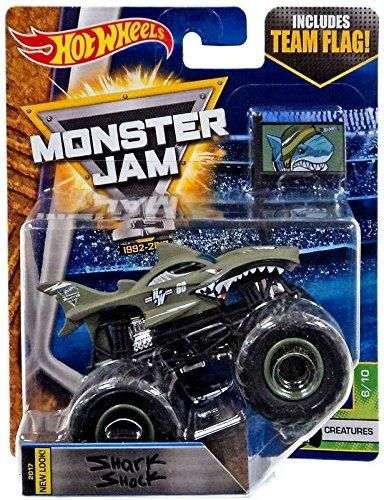 Wheels Monster Jam Truck 1 64 Scale Team Flag Creatures Shark Shock Hot Wheels Monster Jam Monster Jam Hot Wheels