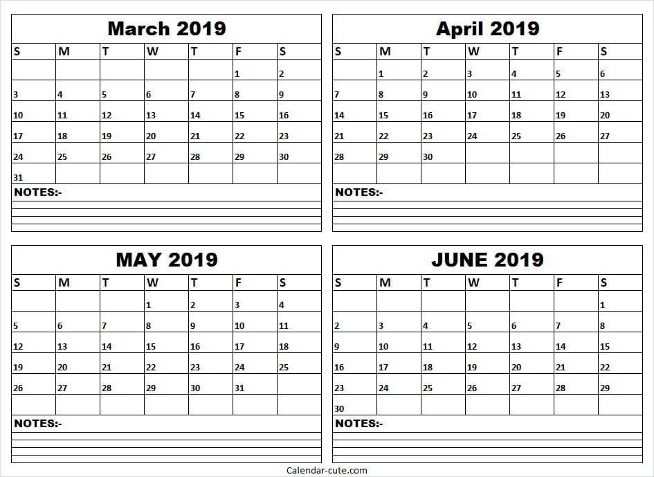 March April May June 2019 Calendar Colorful Template To Print