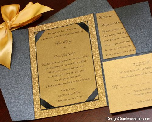 Gold Embossed Wedding Invitations: Gold Embossed Pebble Wedding Pocket Fold Invitation Suite