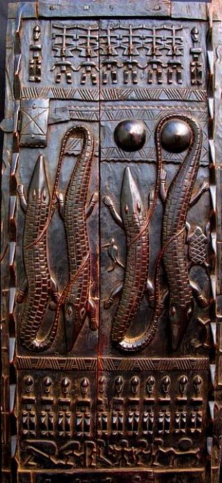 Carved door of a chief of the Dogon people of Mali, West Africa